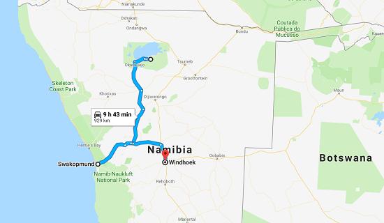 mappa mare safari namibia